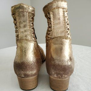 Seychelles gold distressed leather booties